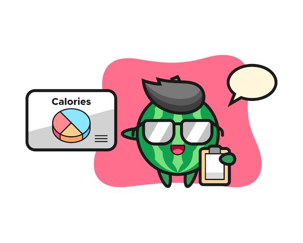 Illustratie van watermeloenmascotte als diëtist