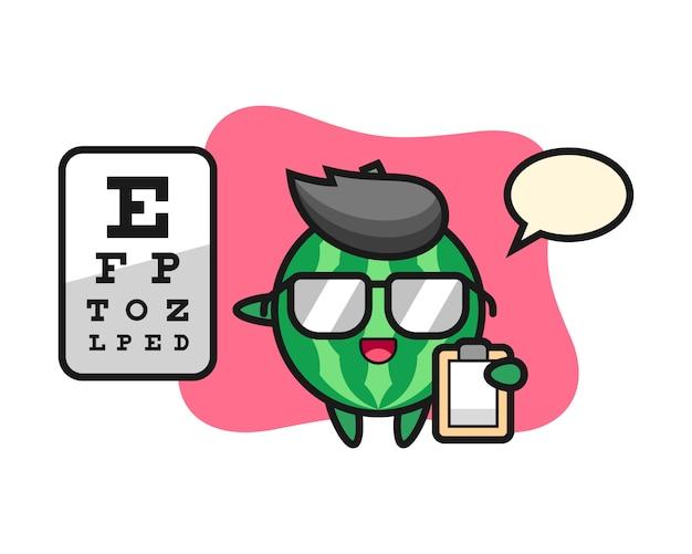 Illustratie van watermeloenmascotte als oogheelkunde