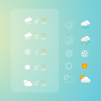 Illustratie van weer web pictogrammen instellen