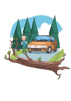 Illustratie van wegversperring door omgevallen boom