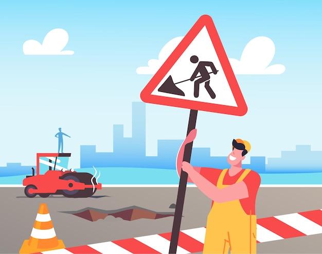 Illustratie van wegwerkzaamheden en asfaltbestrating