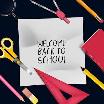 Illustratie van welkom terug naar school sjabloon