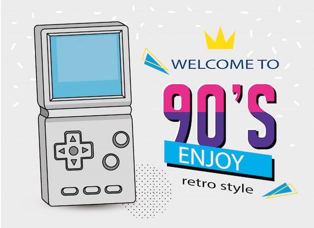 Illustratie van welkomstjaren negentig met handvat van videogame