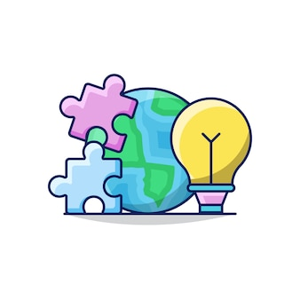 Illustratie van wereldwijde bedrijfsoplossing met globe earth, bulb en puzzel
