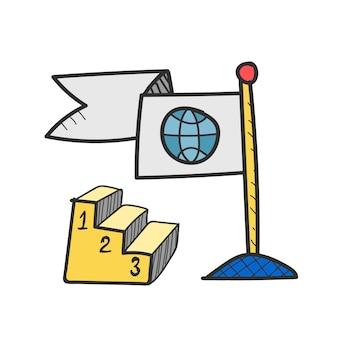 Illustratie van wereldwijde zakelijke concurrentie