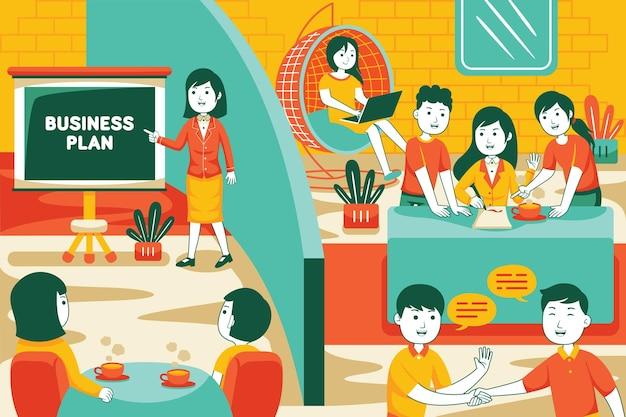 Illustratie van werk op kantoor in vlakke stijl