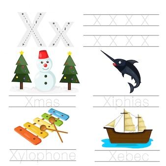 Illustratie van werkblad voor kinderen x lettertype