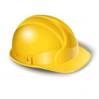 Illustratie van werknemer gele helm. op wit wordt geïsoleerd