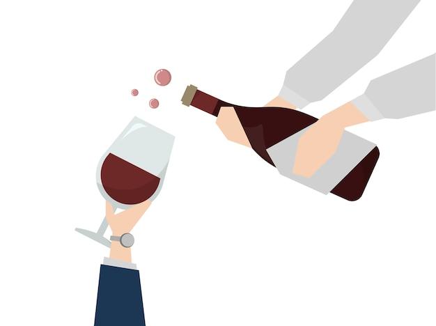 Illustratie van wijn die wordt gediend