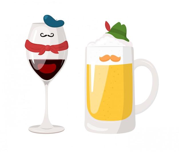 Illustratie van wijnglas in frans kostuum en glas bier in duits kostuum