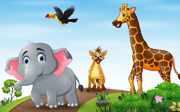 Illustratie van wilde dieren op de weg