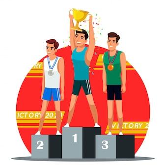 Illustratie van winnaars belonen ceremoniescène, winnaar met gouden kop en zilveren en bronzen medaillewinnaar op podium