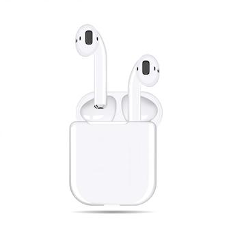 Illustratie van witte draadloze koptelefoon in een geval op een witte achtergrond