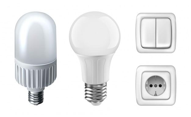 Illustratie van witte gloeilampen, elektriciteitsstekkers en lichtschakelaars. geïsoleerd op wit