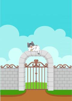 Illustratie van witte kat op de muurachtergrond