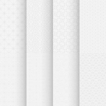 Illustratie van witte kleuren klassieke geometrische naadloze patronen in reeks