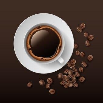 Illustratie van witte kopje koffie met schotel en bonen rond