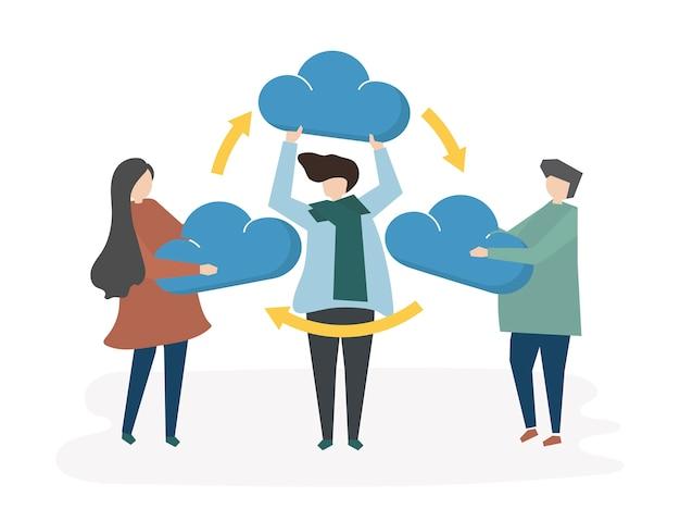 Illustratie van wolkennetwerk die concept delen