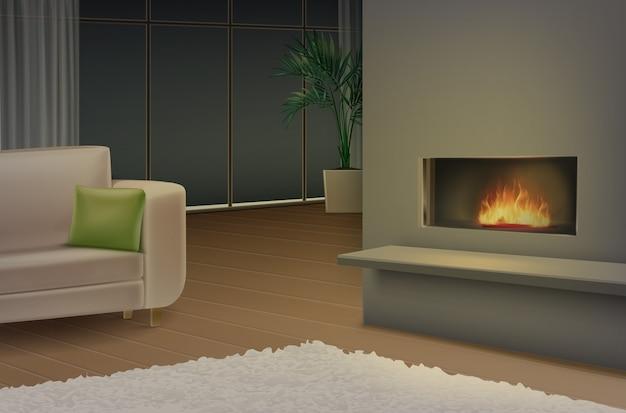 Illustratie van woonkamer met bank en open haard in minimalistische stijl