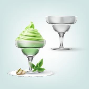 Illustratie van zacht pistache-ijs met noten in beker en lege beker