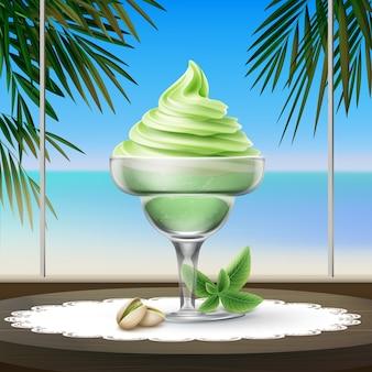 Illustratie van zacht pistache-ijs met noten op de tafel in café