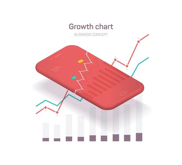 Illustratie van zakelijke smartphone met grafieken en diagrammen
