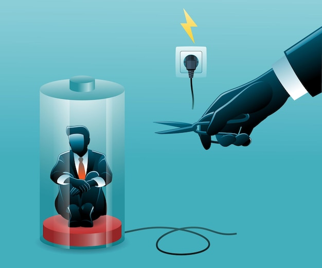 Illustratie van zakenman die in een bijna lege batterij zit terwijl hij de knieën omhelst terwijl een hand met een schaar de kabel van de batterijlader doorsnijdt