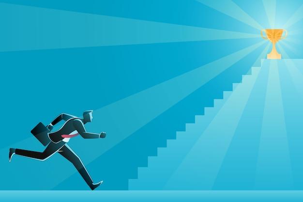 Illustratie van zakenman die trappen naar succes oploopt, probeert een trofee te bereiken