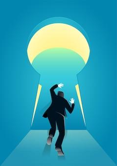 Illustratie van zakenman duwt het grenssleutelgat