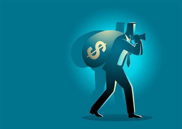 Illustratie van zakenman geld draagtas op zijn schouder