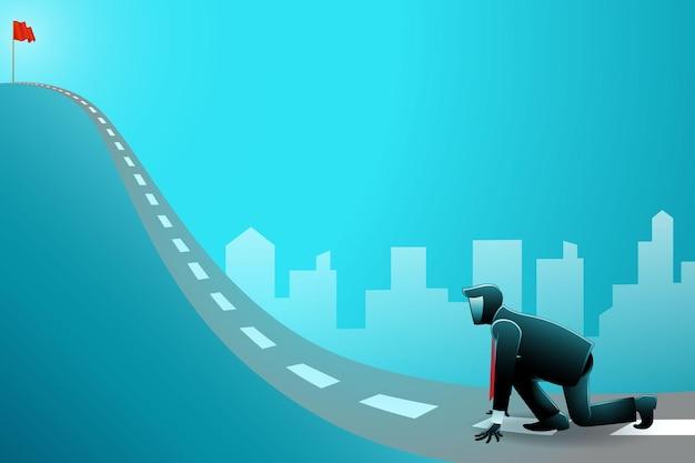 Illustratie van zakenman in sprintstartpositie klaar om een vlag bovenaan de weg te bereiken