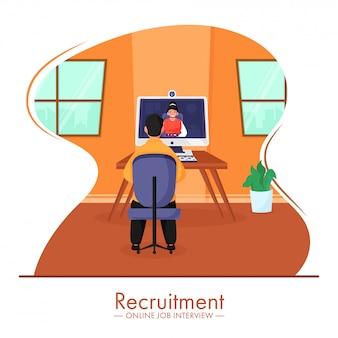 Illustratie van zakenman met videogesprek van vrouw in computer voor online job interview recruitment concept.