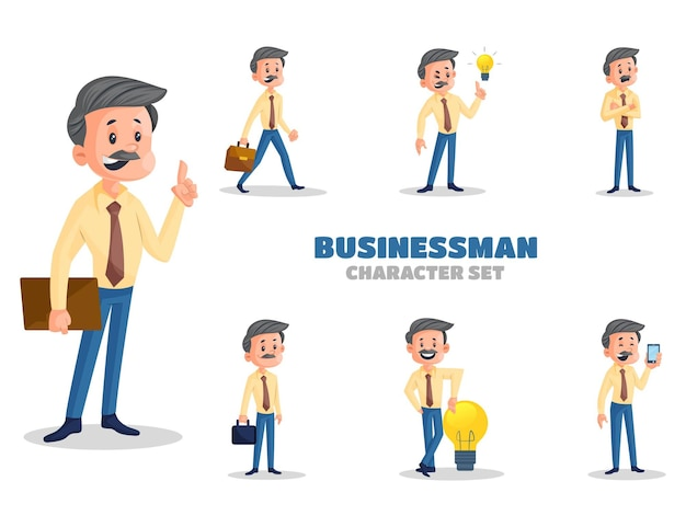 Illustratie van zakenman tekenset