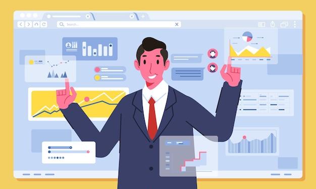 Illustratie van zakenman vastgestelde grafische financiële strategie met bussinesman-karakter