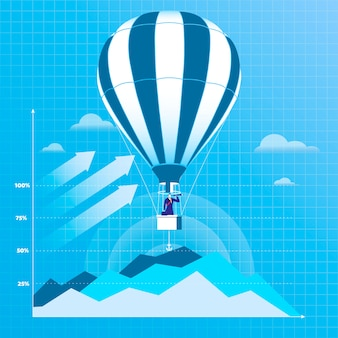 Illustratie van zakenman vliegen op hete luchtballon