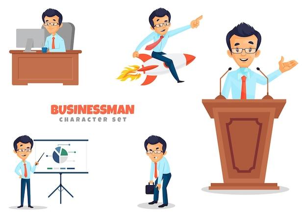 Illustratie van zakenmankarakterreeks
