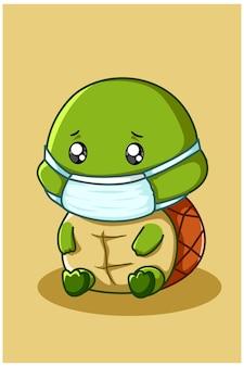 Illustratie van zieke schildpad die een masker draagt