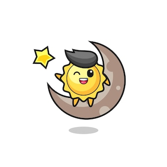 Illustratie van zon cartoon zittend op de halve maan, schattig stijlontwerp voor t-shirt, sticker, logo-element