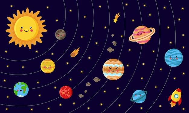 Illustratie van zonnestelsel met sterren en asteroïden
