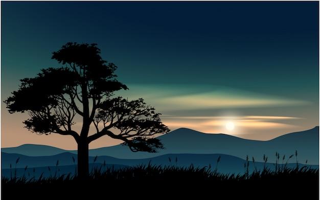 Illustratie van zonsondergang met berg en boom