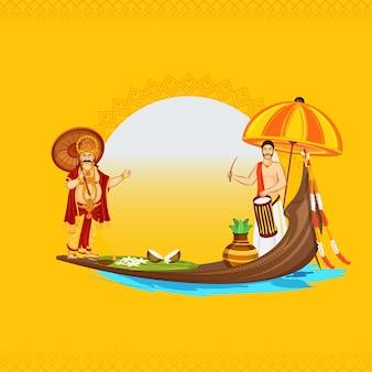 Illustratie van zuid-indiase drummer met king mahabali karakter, traditionele pot (kalash) en vallam kali (snake boat) op gele achtergrond voor onam festival.