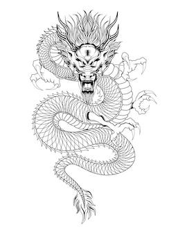 Illustratie van zwarte japanse draak op witte achtergrond