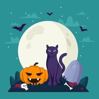 Illustratie van zwarte kat en pompoen voor halloween