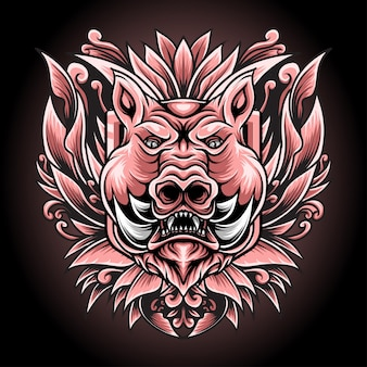 Illustratie varken met gravure ornament voor t-shirt design