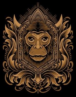 Illustratie vector aap hoofd met vintage gravure ornament.