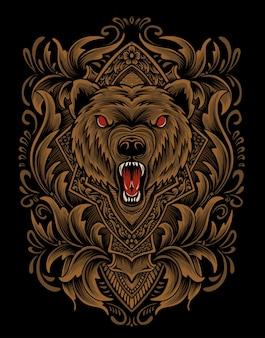 Illustratie vector boos bear hoofd met vintage gravure ornament.