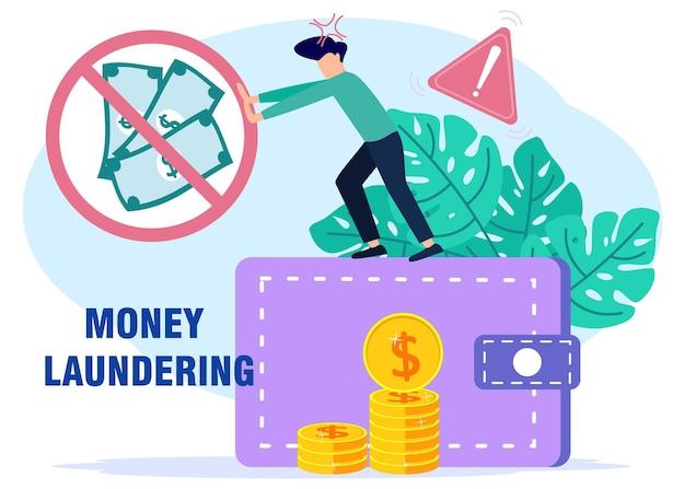 Illustratie vector grafische stripfiguur van anti-stop witwassen van geld
