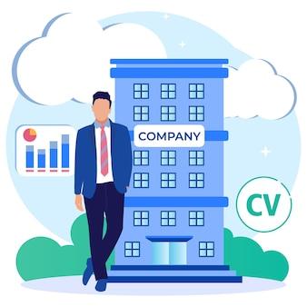 Illustratie vector grafische stripfiguur van bedrijf