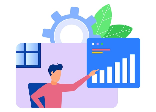 Illustratie vector grafische stripfiguur van bedrijfsanalyse