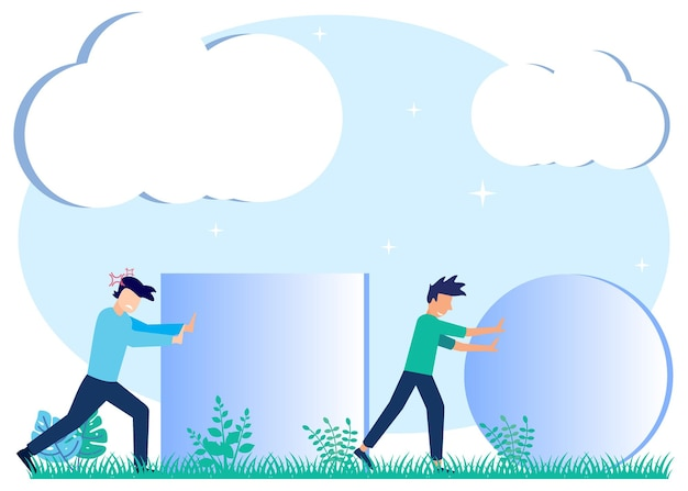 Illustratie vector grafische stripfiguur van bedrijfsstrategie